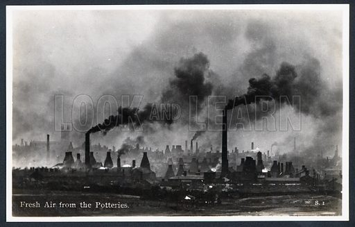 Fresh Air from the Potteries. Factory chimneys and pottery kilns belching pollution into the skies over Stoke on Trent.