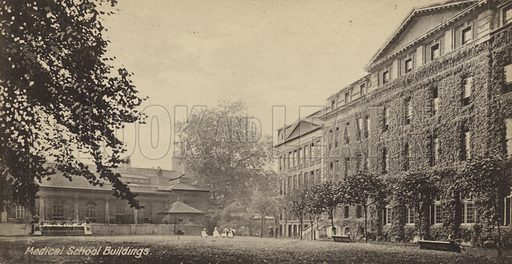 Medical School Buildings. One of series of cards illustrating Guy's Hospital, London.