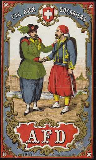 Label for warrior's thread, with an image depicting two men in traditional dress shaking hands. Sold by AFD.
