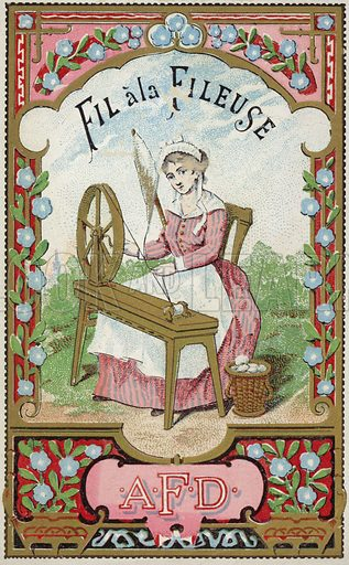 Label for the thread of the spinner, depicting a woman spinning cotton as she sits at a spinning wheel. Sold by AFD.