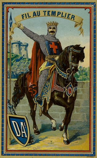 Label for Templar thread, with an image depicting a Knights Tempar on horseback. Sold by DAe.