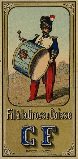Label for Bass Drum thread, with an image depicting a soldiers beating a bass drum. Sold by CF.