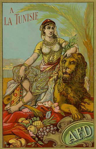 Label for Tunisian thread, with an image depicting a women in traditional Tunisian dress sitting on a lion. Sold by AFD.
