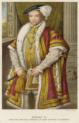 King Edward VI of England and Ireland. From the original portrait by Hans Holbein at Windsor.
