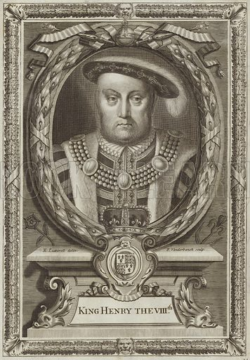 King Henry VIII of England. Drawn by Edward Lutterell, engraved by Peter Vanderbank.