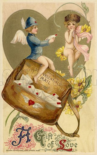 Valentine's card, involving winged postman and coy naked girl.