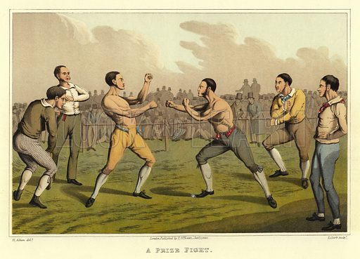 A Prize Fight. Illustration for British Sports by Henry Alken, originally published by Thomas McLean, 1821, reproduced from reprint of exceptional quality by Methuen in 1903.  No screen.