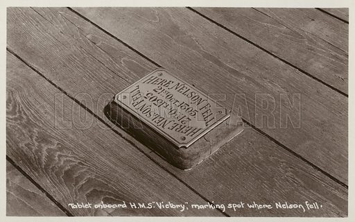 Tablet on board HMS Victory marking the spot where Nelson fell