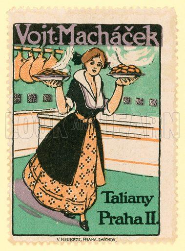 Vojtek Machacek macaroni, Prague. Cinderella stamp.