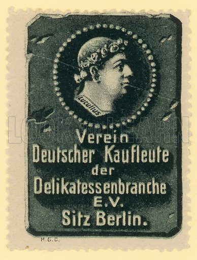 Delicatessen's section of the Association of German Merchants. Cinderella stamp.