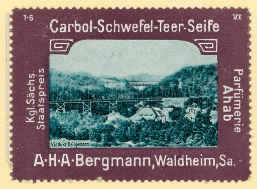Heiligenborn Viaduct, Saxony, Germany. Cinderella stamp for A H A Bergmann carbolic sulphur tar soap.