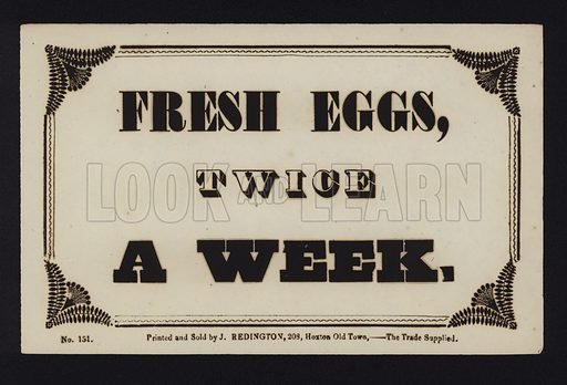Advertisement: Fresh eggs twice a week
