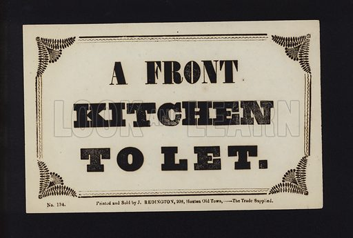 Advertisement: A front kitchen to let