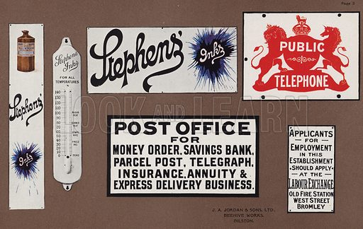 Page from Jordan's Enamelled Signs, published by J A Jordan & Sons Ltd, Beehive Works, Bilston.  Early 20th century, although covering many Victorian brands and logos.