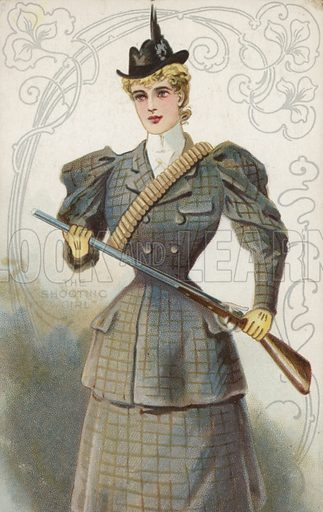 The Shooting Girl. Postcard, early 20th century.