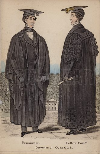 Pensioner, Fellow Commoner, Downing College. Illustration for The Costumes of the Members of the University of Cambridge (H Hyde, c 1850).