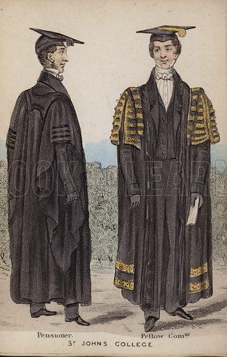 Pensoner, Fellow Commoner, St John's College.  Illustration for The Costumes of the Members of the University of Cambridge (H Hyde, c 1850).