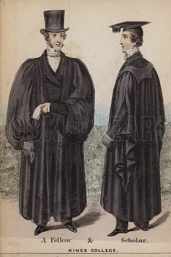 A Fellow and Scholar, King's College. Illustration for The Costumes of the Members of the University of Cambridge (H Hyde, c 1850).