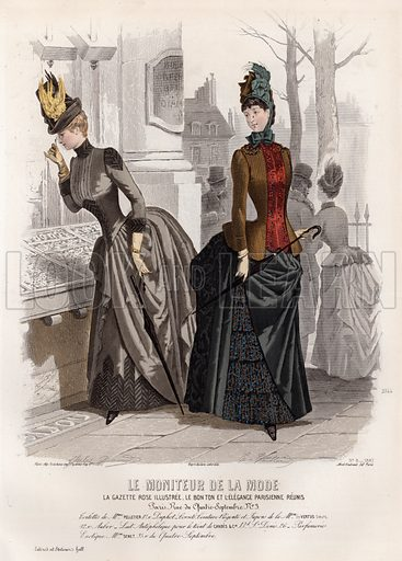 French fashion plate, late 19th century.  Contemporary hand colouring of finest quality.