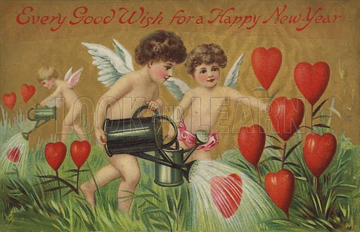 Putti watering hearts.  Postcard, early 20th century.