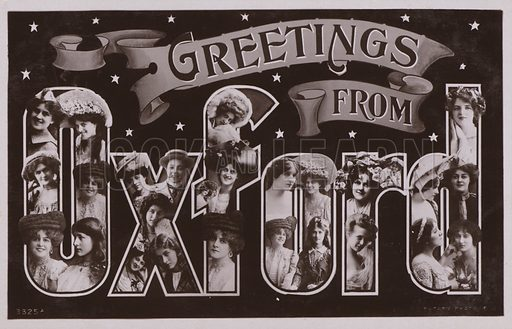 Greetings from OXFORD, with surreal lettering. Postcard, early 20th century.