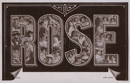 ROSE, with surreal lettering. Postcard, early 20th century.