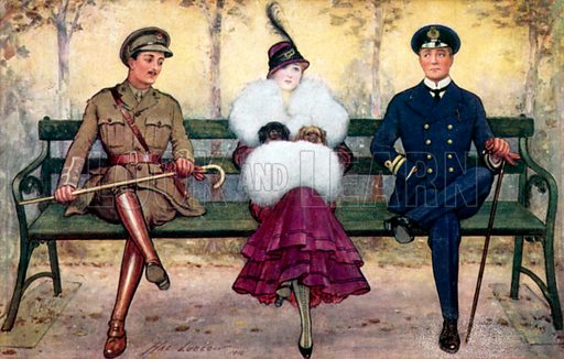Girl on bench, with soldier and sailor on either side. Postcard, early 20th century.