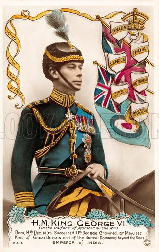 King George VI, Uniform Of Marshall Of The Air. Postcard, early 20th century.