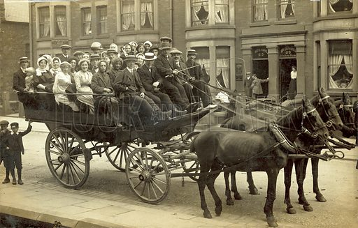 Holiday outing (?), Horse-Drawn Carriage. Postcard, early 20th century.