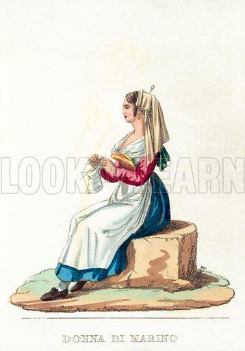 Donna Di Marino. Illustration for a pull-out entitled Roma E Suoi Contorni (Tommaso Cuccioni, nd).