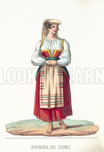 Donna Di Cori. Illustration for a pull-out entitled Roma E Suoi Contorni (Tommaso Cuccioni, nd).