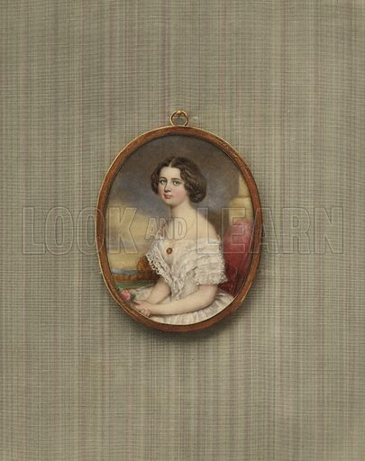 Portrait of a young Viennese woman. Illustration from a series on masterpieces of miniature painting.