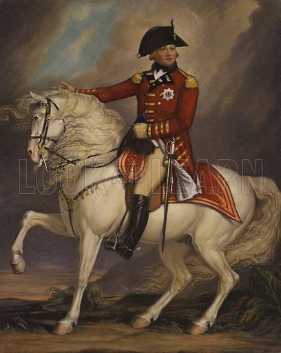Portrait of King George III. Illustration from a series on masterpieces of miniature painting.