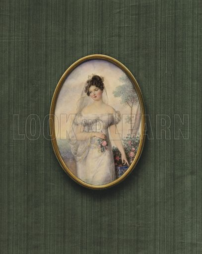 Portrait of an unknown woman. Illustration from a series on masterpieces of miniature painting.