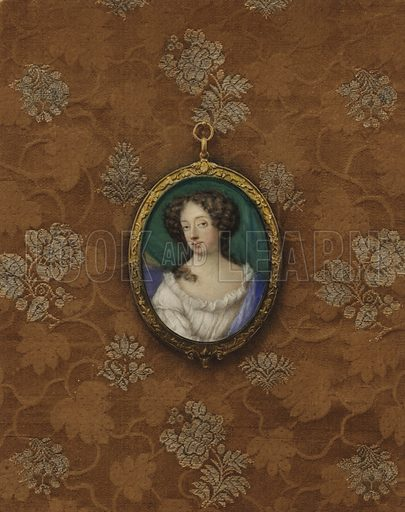 Portrait of Nell Gwynne. Illustration from a series on masterpieces of miniature painting.
