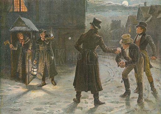 """Snowballing the Watchmen: A Christmas Frolic in the """"Tom and Jerry"""" Times. Illustration from Pears' Annual, Christmas 1896."""