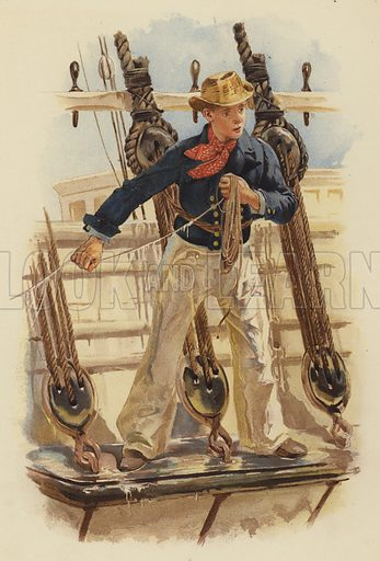 Heaving the lead, 18th century. Illustration for Her Majesty's Navy by Charles Rathbone Low (Virtue, c 1890).