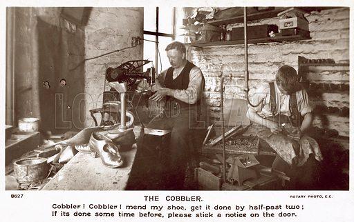 The cobbler.  Postcard, 20th century.