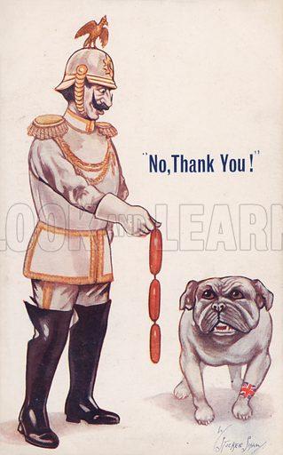 No, Thank You!, 1914. British First World War propaganda postcard.