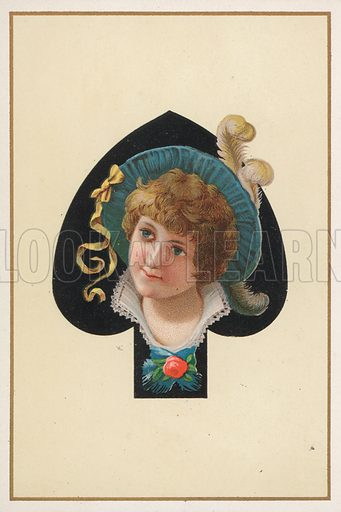 Portrait of a girl on a playing card.  Postcard, early 20th century.
