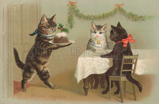 Cat bringing in the Christmas Pudding