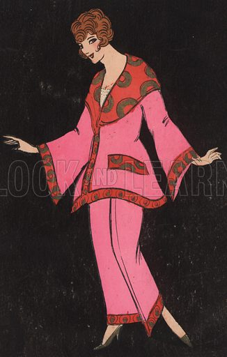 Girl in a trouser suit. Postcard, early 20th century.