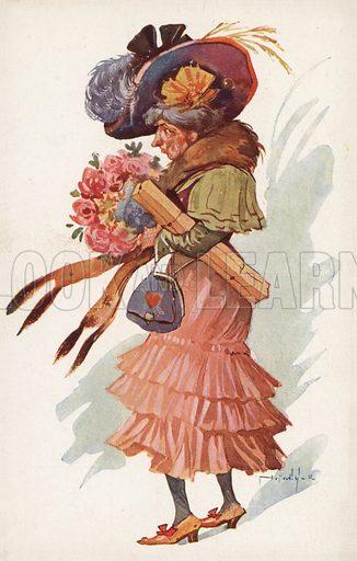Elderly woman in a fox fur. Postcard, early 20th century.