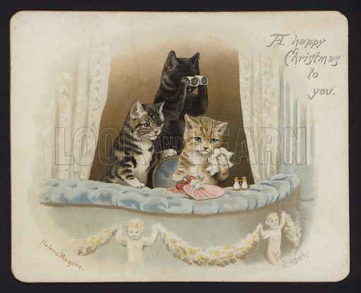 Tragedy. Cat-themed Christmas card.