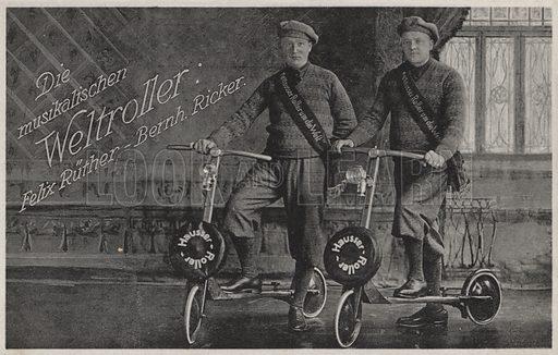 Felix Ruether and Bernhard Ricker, musical scooter riders