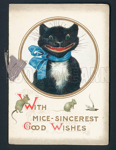 With Mice-Sincerest Good Wishes. Greetings card, late 19th century.