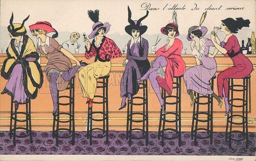 Dans l'attente du client serieux. Postcard, early 20th century.