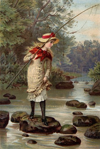 Girl fishing, standing on stone in river.  Greeting card illustration.