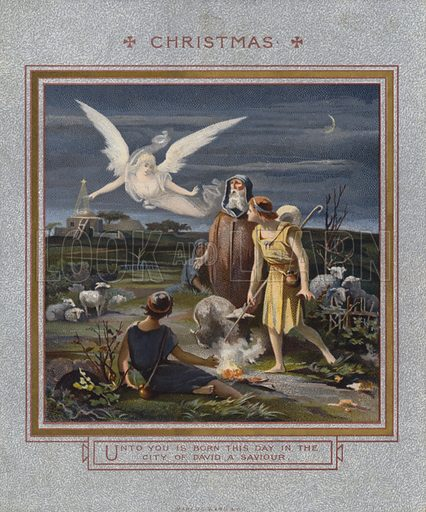 Christmas card: Shepherds alerted to the birth of Jesus while tending their flocks at night.  Published by Marcus Ward, late 19th century.