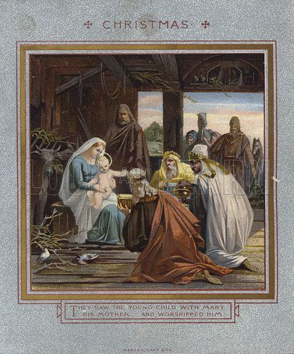 Christmas card: Three Wise Men.  Published by Marcus Ward, late 19th century.